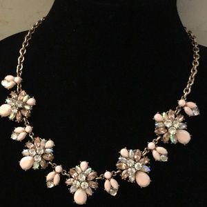 Gold Collar/Statement with Peach Multi-Stones